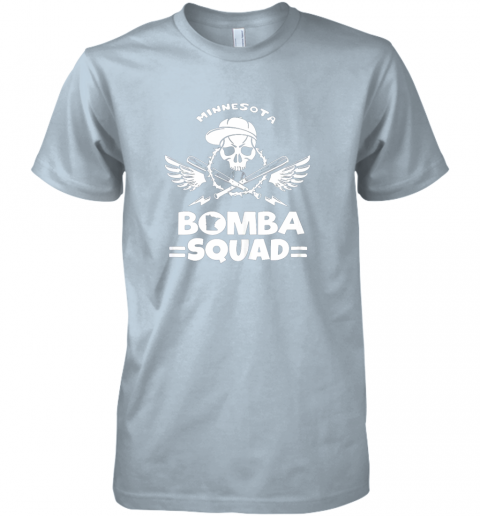 zmjd bomba squad twins shirt minnesota baseball men bomba squad premium guys tee 5 front light blue