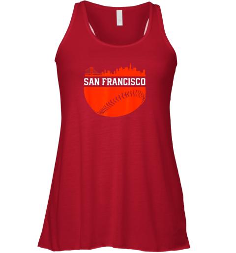 jr39 san francisco baseball vintage sf the city skyline gift flowy tank 32 front red