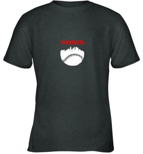 x98r retro minnesota baseball minneapolis cityscape vintage shirt youth t shirt 26 front dark heather