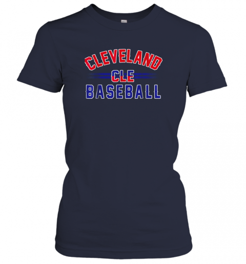 6xkc cleveland cle baseball ladies t shirt 20 front navy