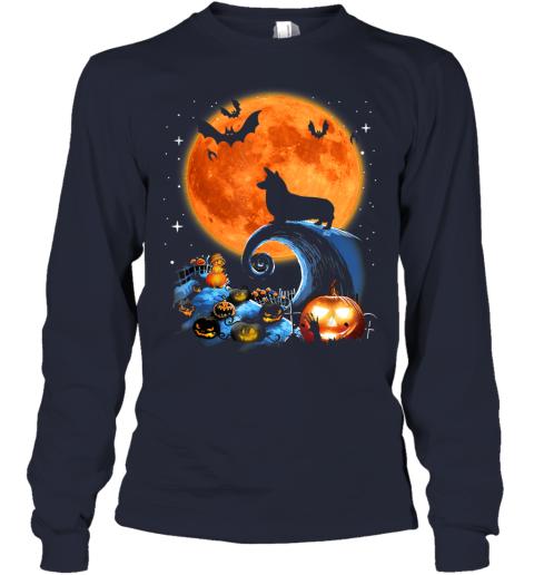Corgi Dog Moon Pumpkin Halloween Costume Gift Youth Long Sleeve