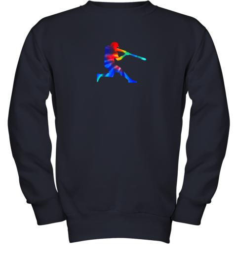c7yp tie dye baseball batter shirt retro player coach boys gifts youth sweatshirt 47 front navy
