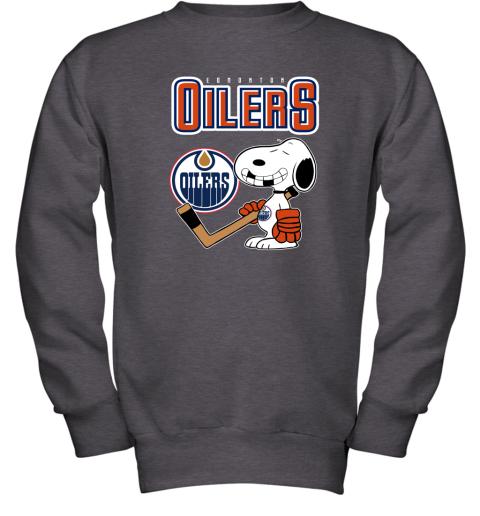 e2k4 edmonton oilers ice hockey broken teeth snoopy nhl shirt youth sweatshirt 47 front dark heather