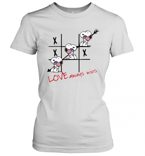 Snoopy Tic Tac Toe American Love Always Win Women's T-Shirt