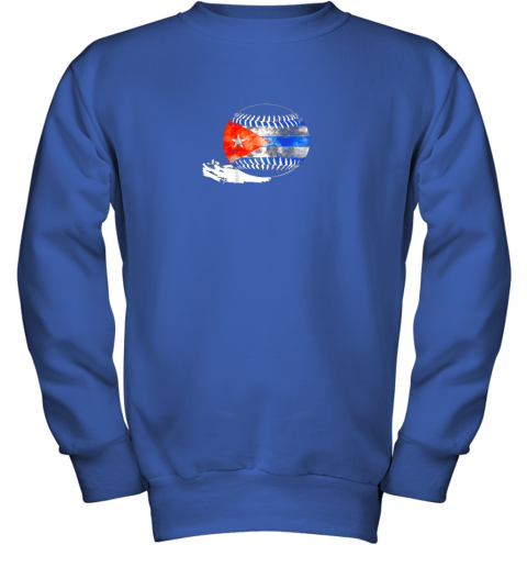 vvoz vintage baseball cuba flag shirt cuban pride youth sweatshirt 47 front royal
