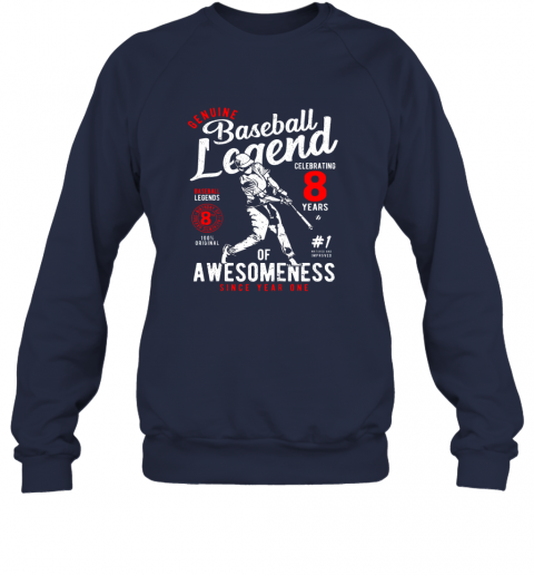 zuqj kids 8th birthday gift baseball legend 8 years sweatshirt 35 front navy
