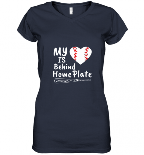 nfyv womens my heart is behind home plate baseball bat mom dad gift women v neck t shirt 39 front navy