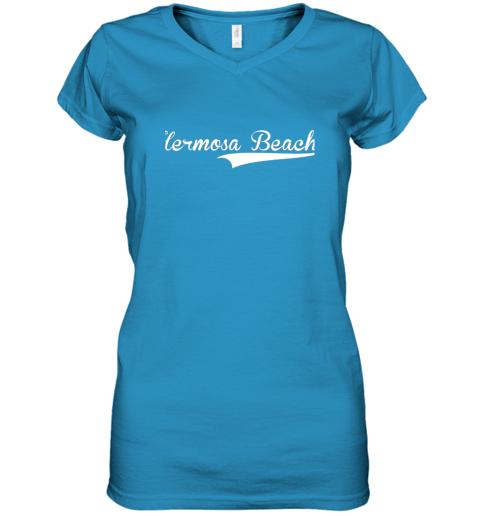 lyrq hermosa beach baseball softball styled women v neck t shirt 39 front sapphire