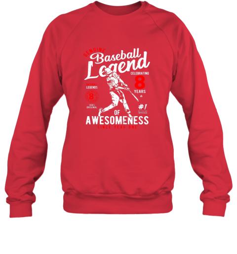 zuqj kids 8th birthday gift baseball legend 8 years sweatshirt 35 front red