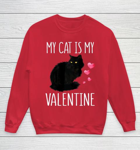Black Cat Shirt For Valentine s Day My Cat Is My Valentine Youth Sweatshirt 7
