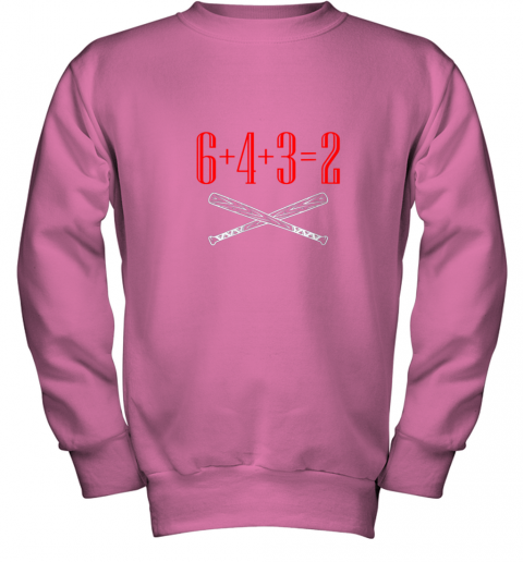 spb4 funny baseball math 6 plus 4 plus 3 equals 2 double play youth sweatshirt 47 front safety pink