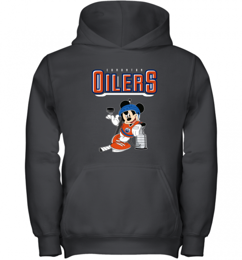 stsk mickey edmonton oilers with the stanley cup hockey nhl shirt youth hoodie 43 front black
