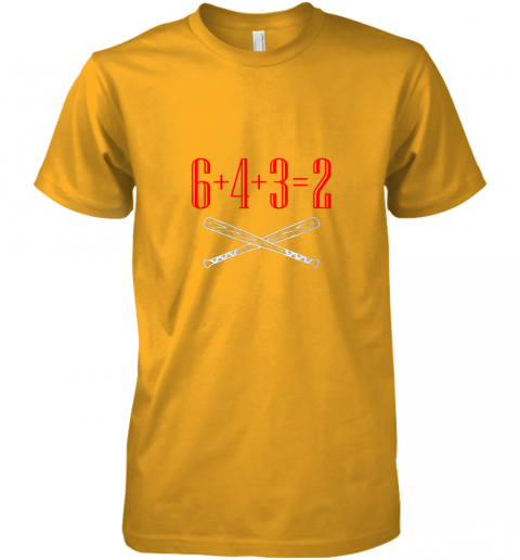 ks75 funny baseball math 6 plus 4 plus 3 equals 2 double play premium guys tee 5 front gold