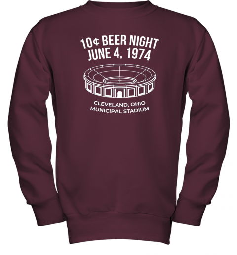 bymm cleveland baseball shirt retro 10 cent beer night youth sweatshirt 47 front maroon