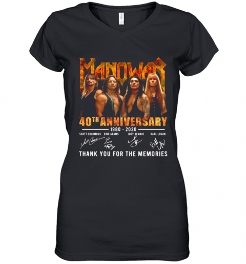 Manowar 40Th Anniversary 1980 2020 Thank You For The Memories Signatures Women's V-Neck T-Shirt