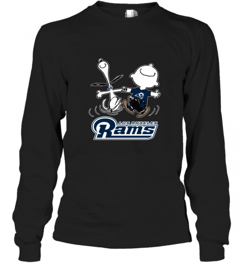 Snoopy And Charlie Brown Happy Los Angeles Rams Long Sleeve T-Shirt