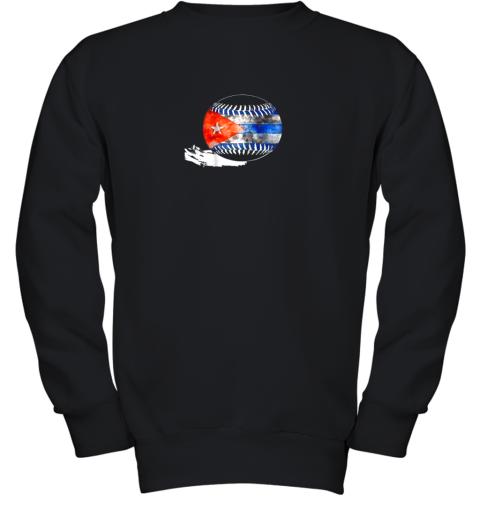 Vintage Baseball Cuba Flag Shirt Cuban Pride Youth Sweatshirt