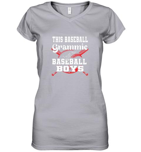 mlmy this baseball grammie loves her baseball boys women v neck t shirt 39 front sport grey