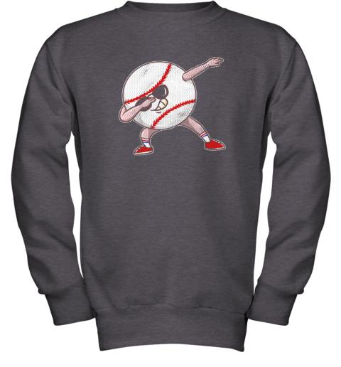 2pwu kids funny dabbing baseball player youth shirt cool gift boy youth sweatshirt 47 front dark heather