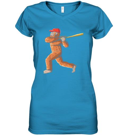 c7nb bigfoot baseball sasquatch playing baseball player women v neck t shirt 39 front sapphire