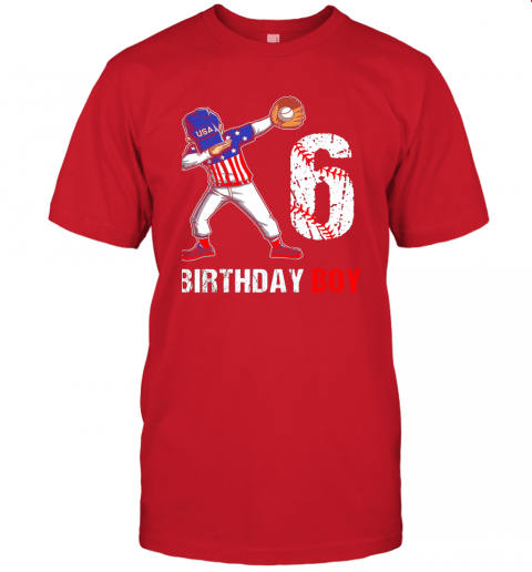 sstz kids 6 years old 6th birthday baseball dabbing shirt gift party jersey t shirt 60 front red