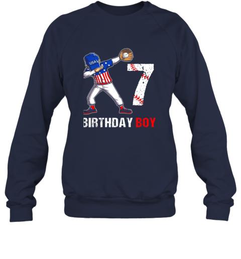 vmve kids 7 years old 7th birthday baseball dabbing shirt gift party sweatshirt 35 front navy