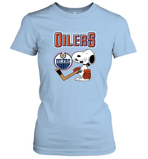 mutj edmonton oilers ice hockey broken teeth snoopy nhl shirt ladies t shirt 20 front light blue