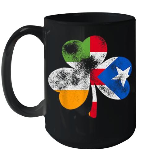 Irish Puerto Rican Shamrock Puerto Rico Flag St Patricks Day Ceramic Mug 15oz