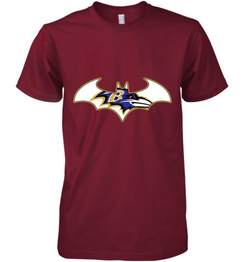 pdry we are the baltimore ravens batman nfl mashup premium guys tee 5 front cardinal
