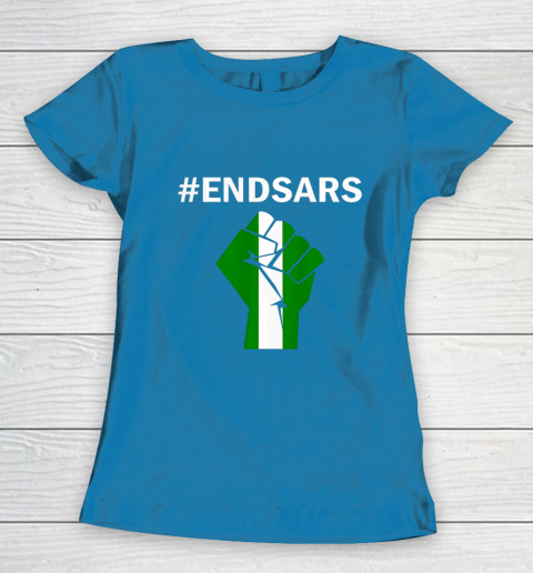 EndSARS End SARS Nigeria Flag Colors Strong Fist Protest Women's T-Shirt 6