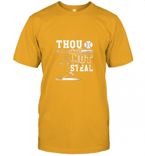 uf4o funny baseball thou shall not steal baseball player jersey t shirt 60 front gold
