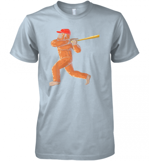 jslr bigfoot baseball sasquatch playing baseball player premium guys tee 5 front light blue