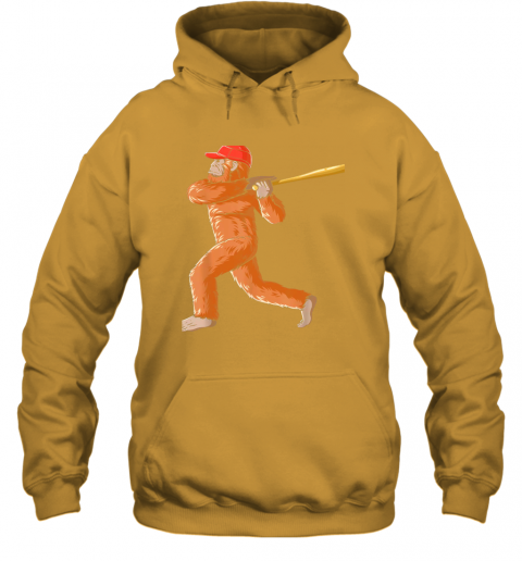 3pdz bigfoot baseball sasquatch playing baseball player hoodie 23 front gold