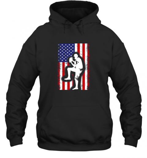 Vintage USA American Flag Baseball Player Team Gift Hoodie