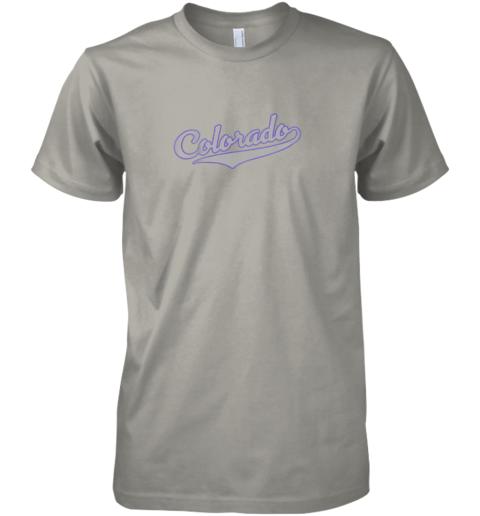 l8mn colorado shirtretro baseball script design premium guys tee 5 front light grey