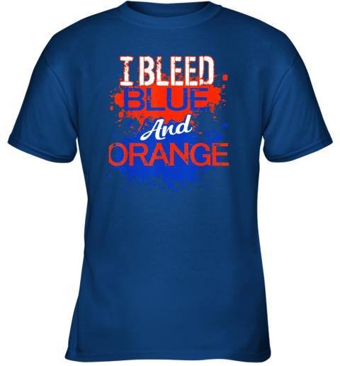 nn29 i bleed blue and orange fan shirt football soccer baseball youth t shirt 26 front royal