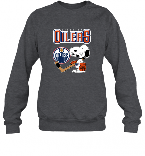 biud edmonton oilers ice hockey broken teeth snoopy nhl shirt sweatshirt 35 front dark heather