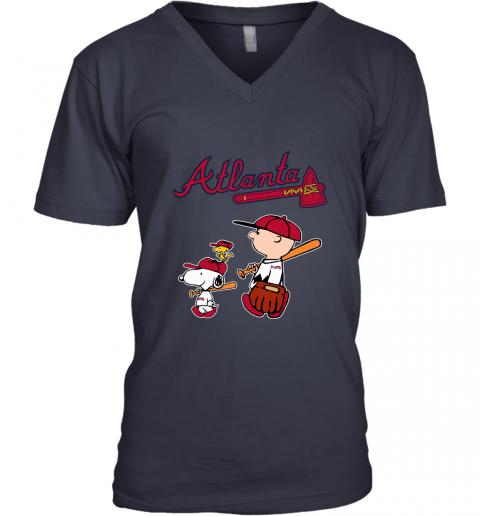dp87 atlanta braves lets play baseball together snoopy mlb shirt v neck unisex 8 front navy