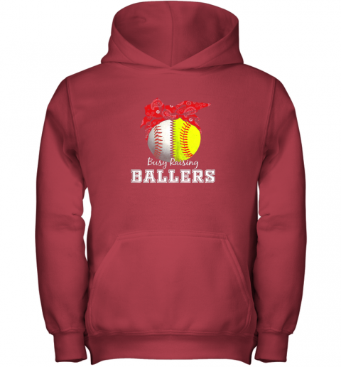 s41x busy raising ballers softball baseball shirt baseball mom youth hoodie 43 front red