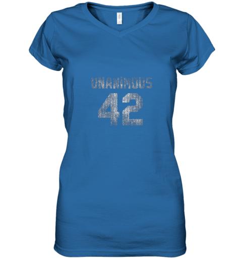 mnhq new york 42 baseball unanimous hof distressed mo hero women v neck t shirt 39 front royal