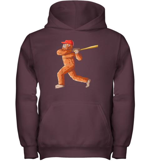 7yi6 bigfoot baseball sasquatch playing baseball player youth hoodie 43 front maroon