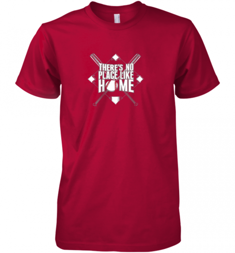 zx4j there39 s no place like home baseball tshirt mom dad youth premium guys tee 5 front red