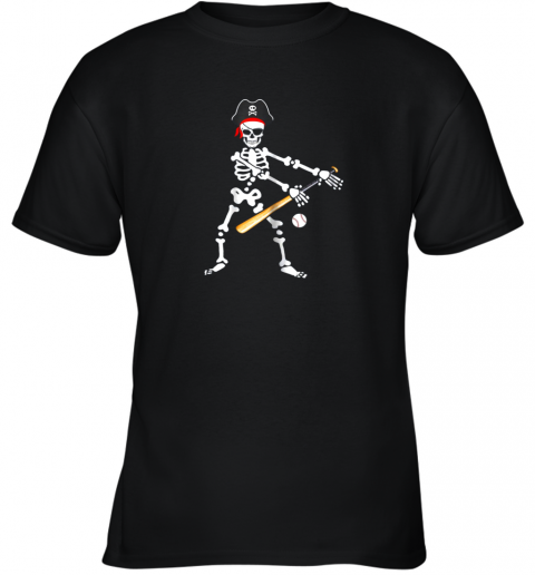 wb7n skeleton pirate floss dance with baseball shirt halloween youth t shirt 26 front black