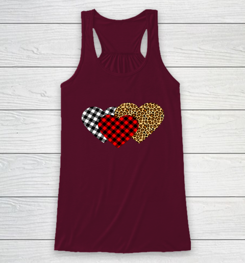 Leopard Heart Buffalo Plaid Heart Valentine Day Racerback Tank 2