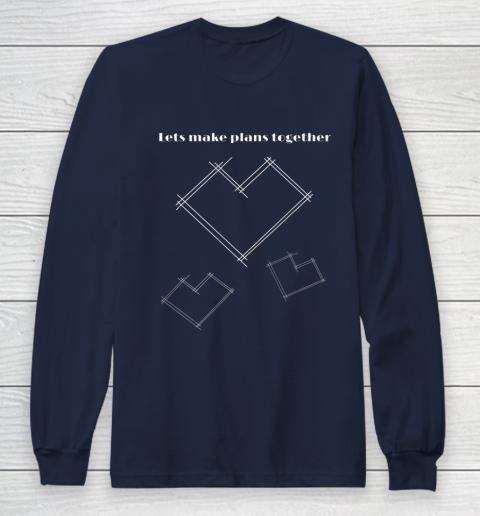 Valentine Architect T Shirt Heart Architecture Student Long Sleeve T-Shirt 2