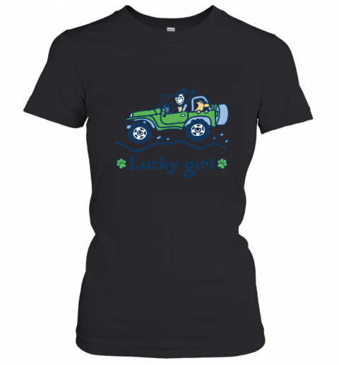 Lucky Girl Irish Girl Jeep Dog Life Is Simple Doodle Art Women's T-Shirt