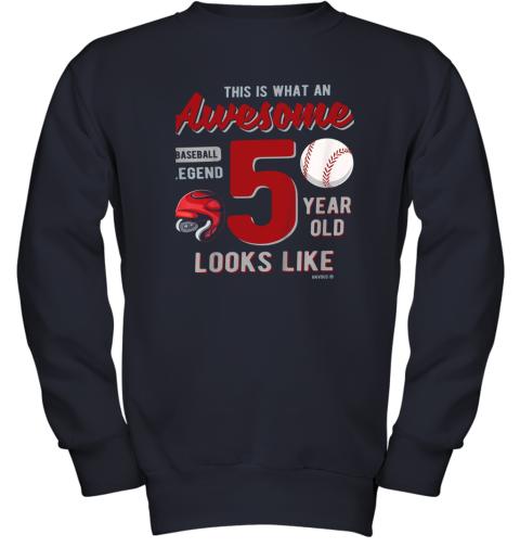 fswj kids 5th birthday gift awesome 5 year old baseball legend youth sweatshirt 47 front navy