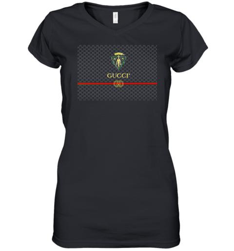 Gucci Graphic Logo Black Womens V-Neck T-Shirt