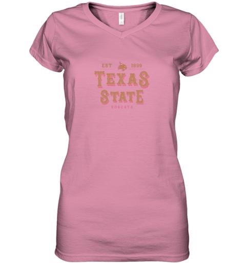 9btj texas state bobcats womens college ncaa women v neck t shirt 39 front azalea