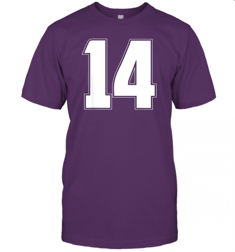 6114 halloween group costume 14 sport jersey number 14 14th bday jersey t shirt 60 front team purple